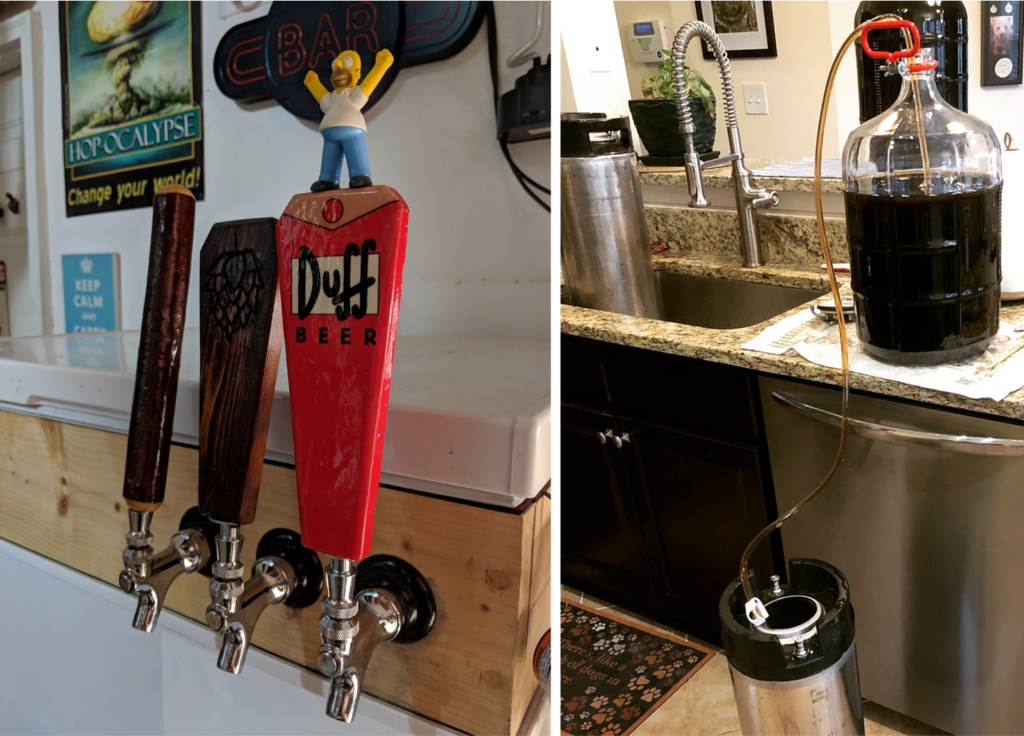 Images of a kegerator and beer being kegged to illustrate the differences between bottling vs kegging homebrew.
