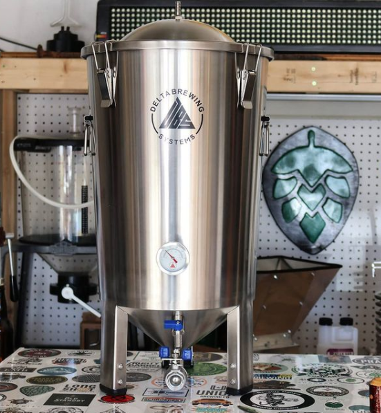 A stainless steel Delta Brewing Systems FermTank conical fermenter to illustrate the difference between glass vs plastic vs stainless steel homebrewing fermenters